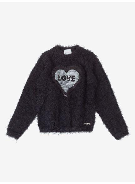 casaco infantil feminino love preto momi