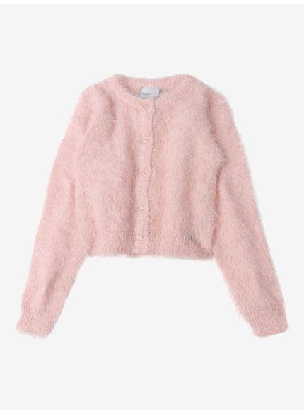 cardigan infantil feminino rosa peluciado momi