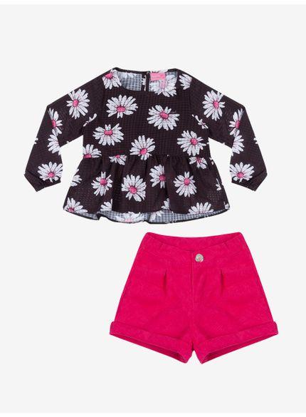 conjunto infantil feminino estampa floral momi