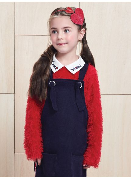 casaco infantil feminino fluffy vermelho momi