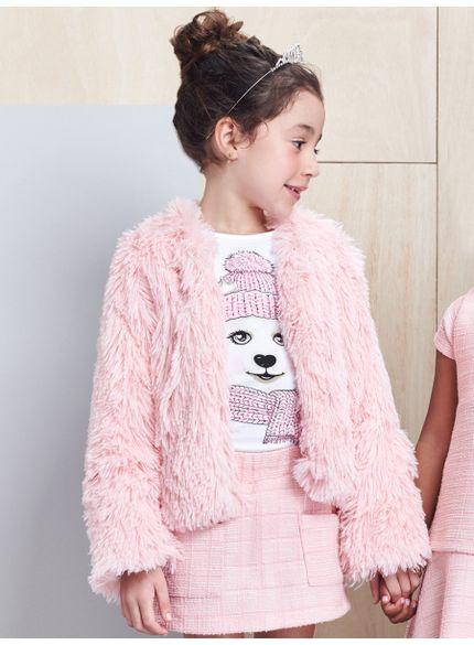 casaco infantil feminino pelo rosa momi