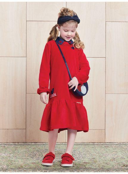 vestido infantil midi vermelho recorte gode momi look