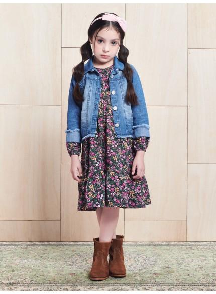 vestido infantil estampa floral momi look