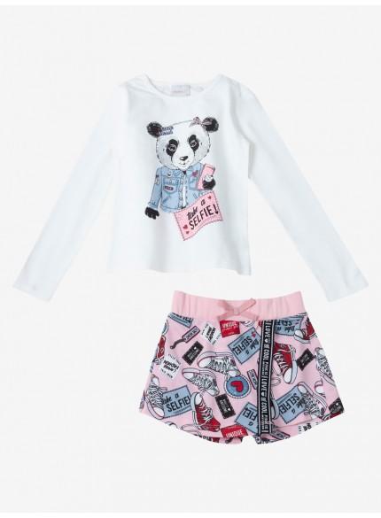 conjunto infantil feminino estampado panda momi