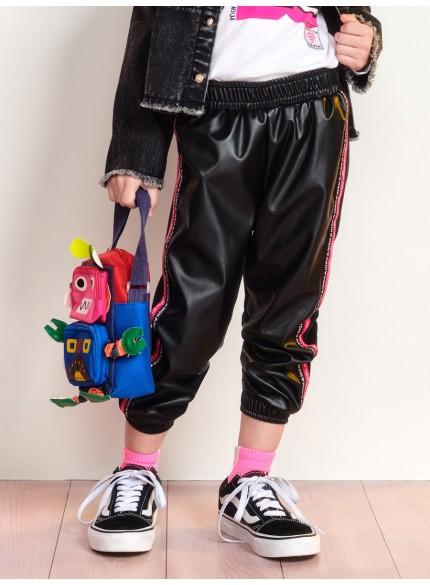 calca jogger infantil feminina couro fake momi