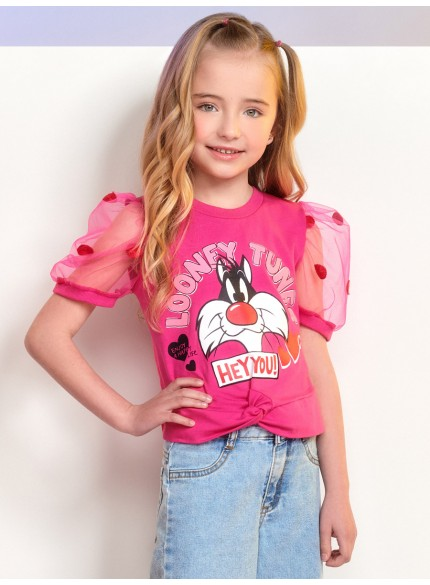 blusa infantil feminina frajola dom manga bufante rosa momi
