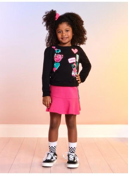 conjunto de moletom infantil menina preto emoji momi