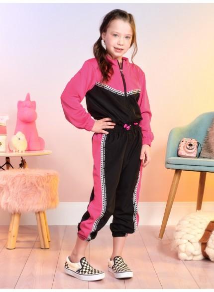 conjunto infantil feminino esportivo rosa e preto momi