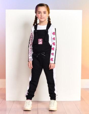 Jardineira Jogger Infantil Feminina Preta Panda Momi F9861