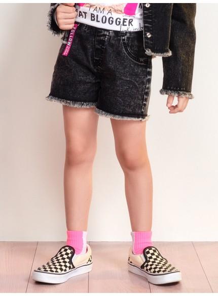shorts jeans infantil feminino preto barra desfiada momi