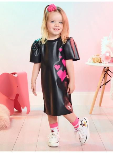 vestido fake leathe preto infantil feminino momi