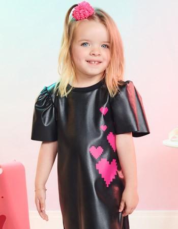 Vestido Fake Leathe Preto Infantil Feminino Momi J3504
