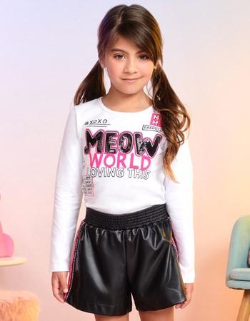 Conjunto Infantil Menina Shorts Couro Fake Preto Momi  F9585