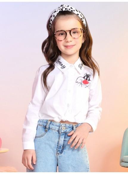 camisa social branca infantil feminina frajola momi