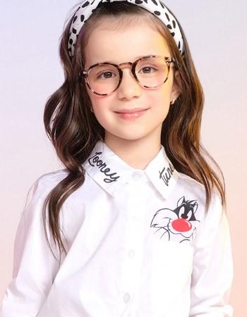 Camisa Social Branca Infantil Feminina Frajola Momi H2812