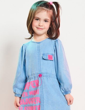 Vestido Jeans Infantil Manga Bufante Blogger Momi J3438