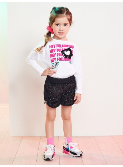 conjunto infantil menina shorts de paete momi