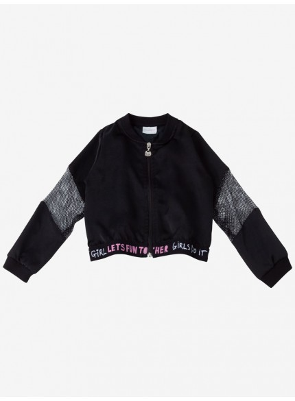 jaqueta infantil feminino corta vento preto momi