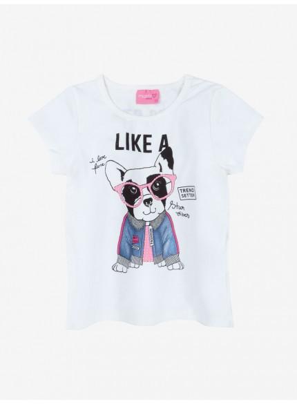 blusa infantil feminina dog manga curta momi