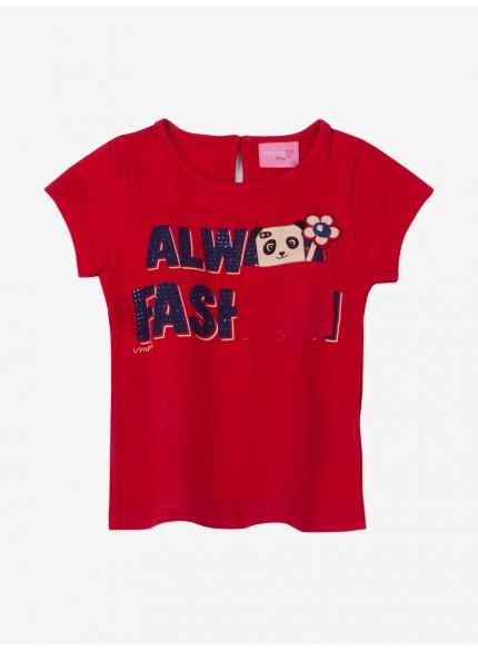 blusa infantil feminina manga curta vermelha momi