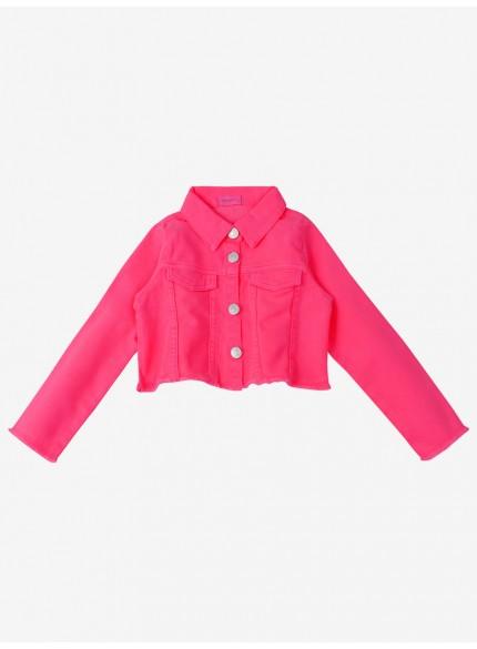 jaqueta infantil feminina rosa pink de sarja momi