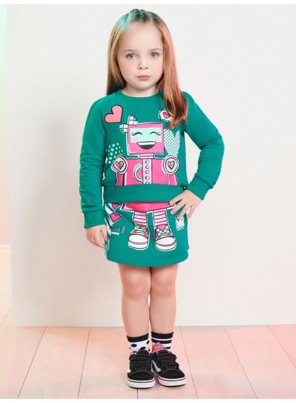 conjunto infantil menina de moletom verde robo