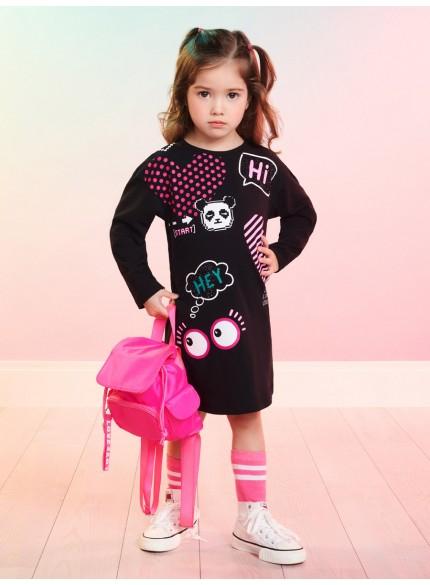 vestido infantil de manga longa preto panda