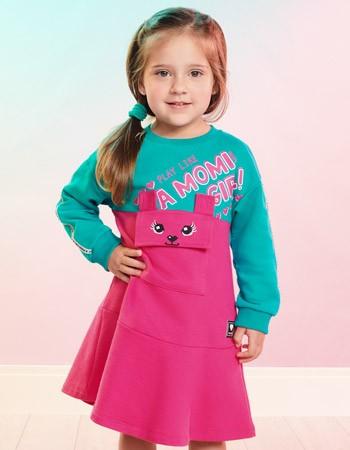 Vestido Infantil Rosa com Bolso de Ursinho Momi J3764