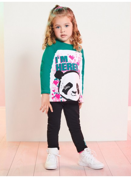 conjunto infantil menina de panda momi