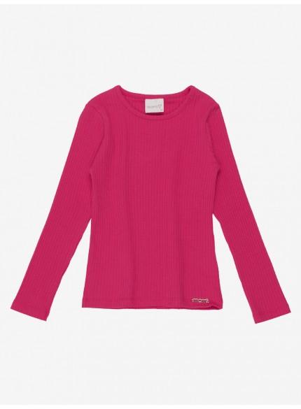 blusa infantil menina pink malha canelada momi