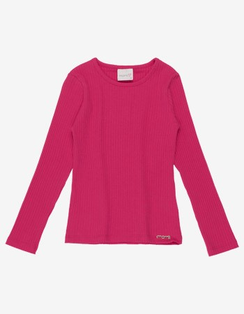 Blusa Infantil Menina Pink Malha Canelada Momi F9348