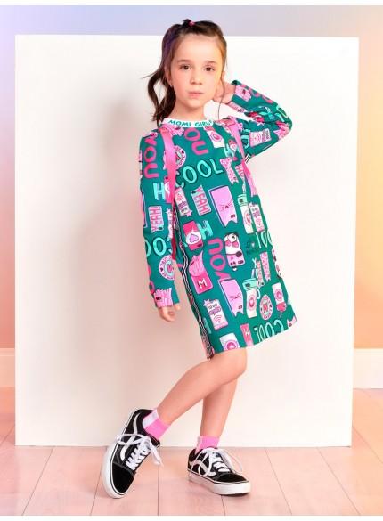 vestido infantil estampa verde estampa smartphone