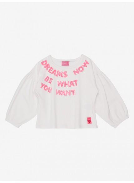 blusa infantil menina de manga bufante off white still