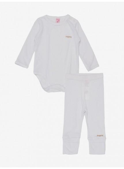 conjunto body bebe menina branco momi